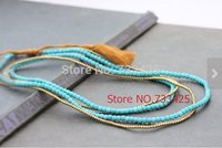 Tassel Long pendant Stone Necklace women handmade woven with cotton cord and slide closure