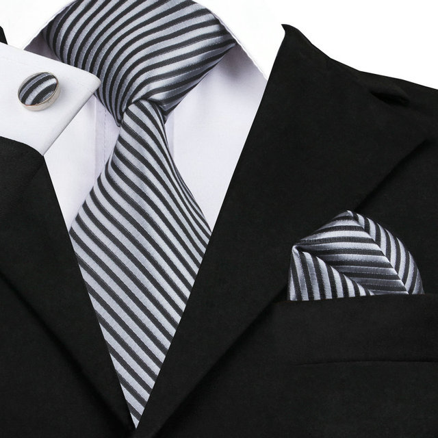 f8516344d8cd Mens Ties 2016 Stripe Black Silver NeckTie Hanky Cufflinks Set Silk Ties  For Men Formal Business Wedding Party 8.5CM Width C-915