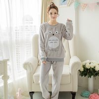 Animal Pajamas Cute Cartoon Totoro Pyjama Character Nightgown Soft Flannel Polyester Sleepsuit Pink Winter Women Pijama Adulto