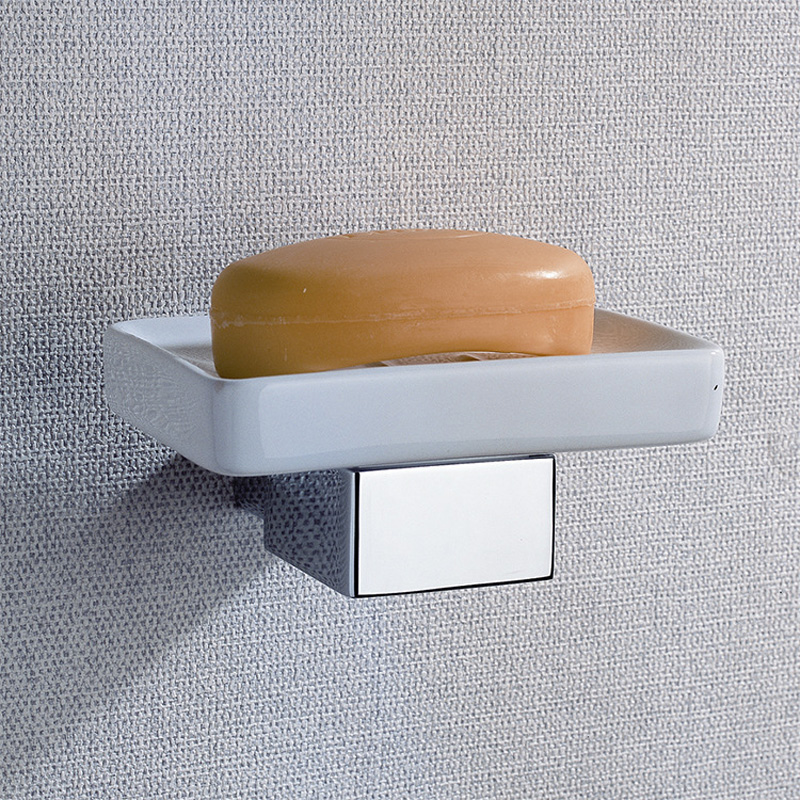 ceramic soap dish and brass holder luxury polished chrome wall mounted rectangle shower tray soap boxes bathroom accessories