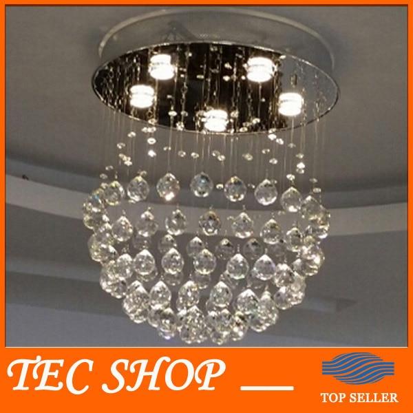 Best Price JH D50cmxH55cm / 5 lights Modern LED Crsytal Chandelier Rain Drop Chandelier Lighting with Crystal Balls