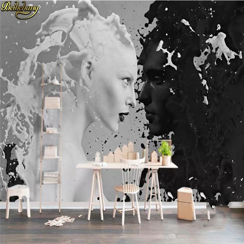 Beibehang Kustom Hitam Putih Susu Kekasih Foto Wallpaper Dinding 3 d Ruang Tamu Kamar Tidur Toko