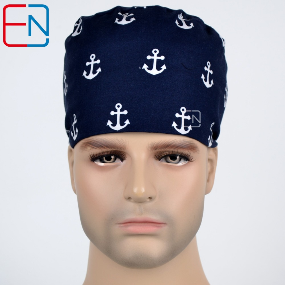 Hennar Surgical Caps With Masks For Men Dark Blue Print Hospital Medical Caps Cotton High Quality Surgical Scrub Hat Facial Mask