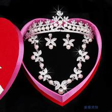 2016 New Arrival classy  ivory pearl wedding jewelry sets rhinestone bridal jewelry  for Women sweet wedding accessories