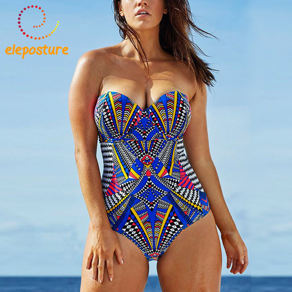 все цены на 2017 One Piece Swimsuit Women Retro Vintage Bathing Suits Plus Size Swimwear Push Up Beach Wear Geometric Print Swim Suit L-3XL онлайн
