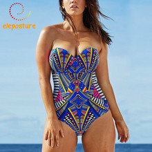 2020 One Piece Swimsuit Women Retro Vintage Bathing Suits Plus Size Swimwear Push Up Beach Wear Geometric Print Swim Suit L 3XL