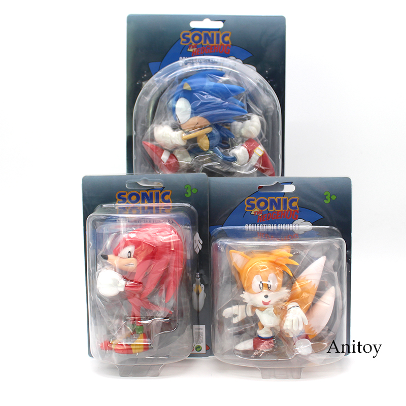 Sonic The Hedgehog Knuckles the Echidna Tails PVC Figure Collectible Model Toy 10~12.5cm original box sonic the hedgehog vivid nendoroid series pvc action figure collection pvc model children kids toys free shipping