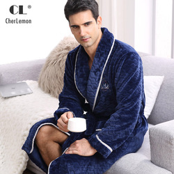 1e87d65ef5 CherLemon Winter Flannel Robe Sleepwear Thicking Mens Warm Spa Bathrobe  Pajamas Male Long Sleeve Belt Solid Soft Homewear