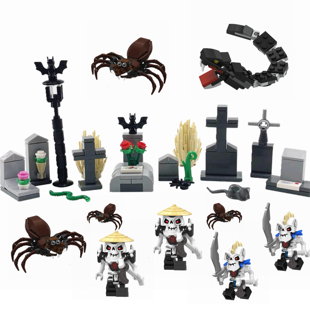 Legoing Creator MOC Halloween Grave Skeleton DIY Building Kits Toys for Children Compatible with Legoings Accessories Creative