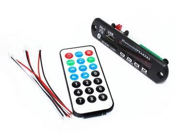 Bluetooth MP3 Decoding Board Module 12V w/ SD Card Slot / USB / FM / Remote Decoding Board Module Connector