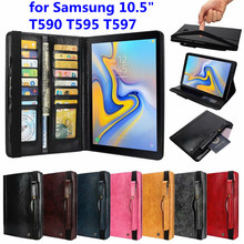 Luxury Business Style Flip Case Voor Samsung Galaxy Tab A A2 2018 10.5 T590 T595 T597 Genuine Leather Wallet With Card Slots