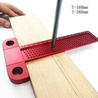 160mm/260mm Woodworking Aluminum T type ruler Hole marking ruler Right angle ruler Woodworking scriber Gauge Measuring Tool