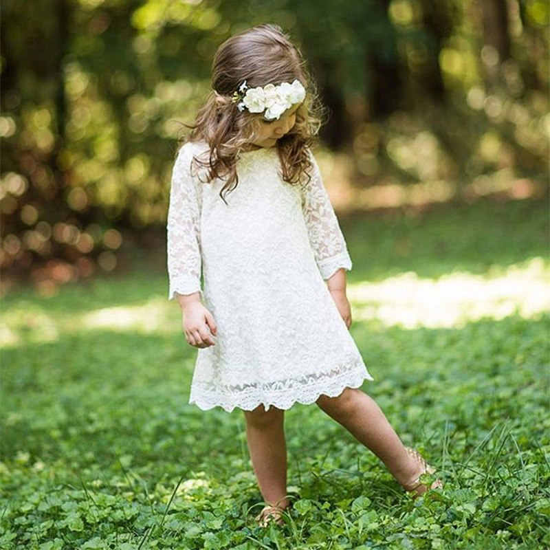 Высокое качество для маленьких девочек осень-весна одноцветное милое кружевное платье Новый Для детей принцессы Одежда для свадьбы, дня рождения мягкие Хлопковое платье