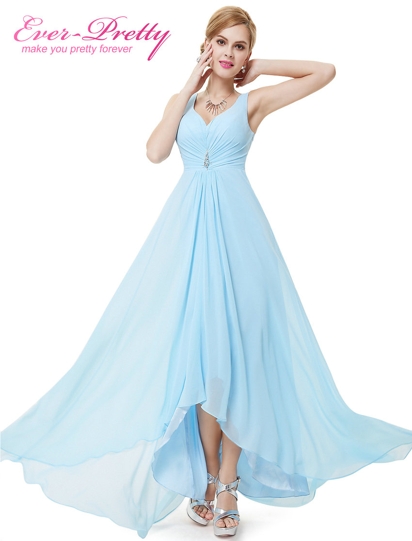 Long Evening Dresses Ever-Pretty Plus Size EP09983BK Double V Neck Rhinestones High Low Weddings Events Special Occasion Dresses
