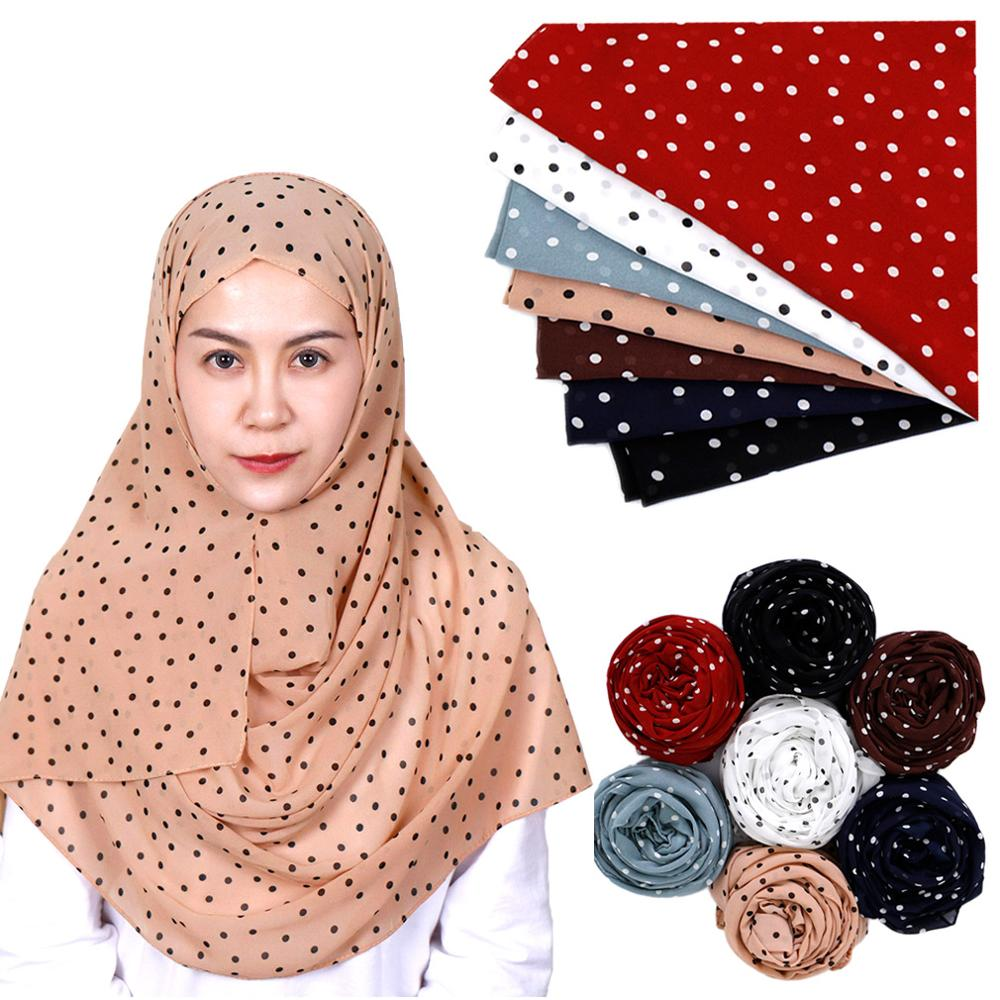 Polka dot bubble chiffon hijab   scarf   printe shawls muslim   scarves     wraps   headband   scarves   10pcs/lot 7 color