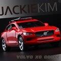 Nuevo Volvo XC90 XC par 1:32 modelo de coche para niños juguete SUV doble Caballos tire hacia atrás de sonido luz de origen con el soporte envío gratis regalo