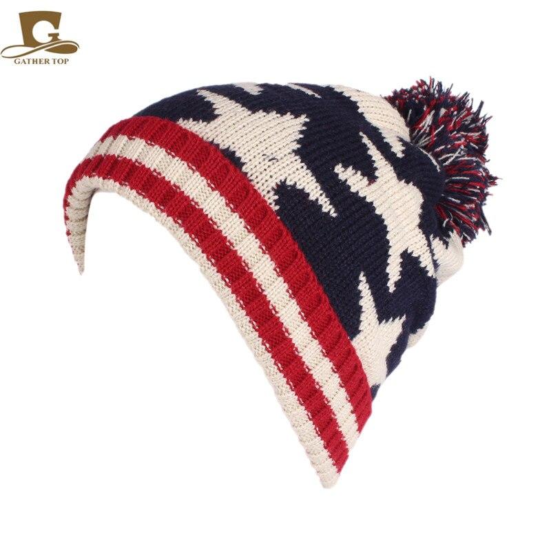 Winter Fur Ball British Flag Knitted Wool Cap TRUMP USA Flag Hat Ear Warmer Cap Crochet Knit Cap   Skullies     Beanies   Warm Caps UK