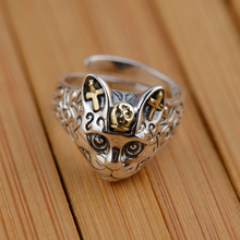925 Sterling Silver Cat Head Ring
