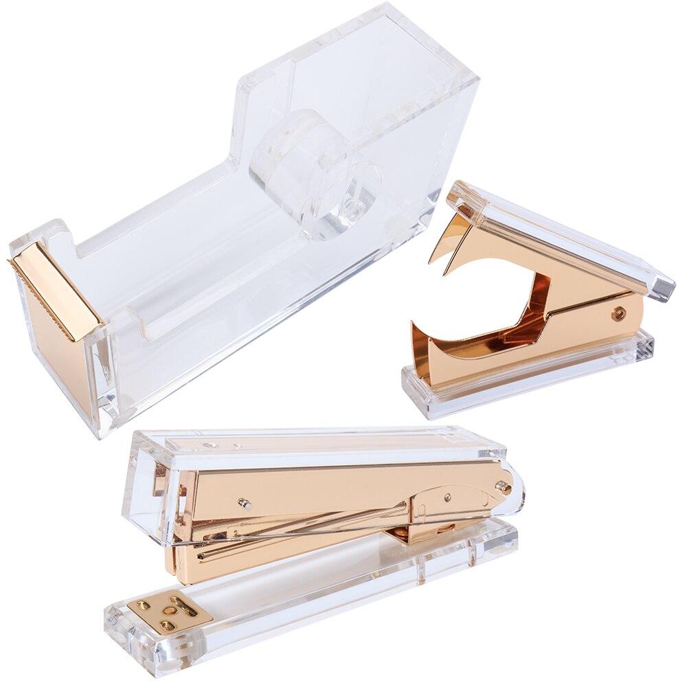 Acrylic Gold Stapler Bundle 1 Stapler 1 Staple Remover 1 Tape Dispenser Desktop Stationery Series
