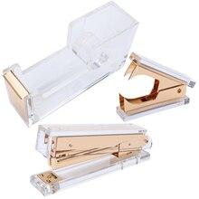 Набор акрилового золотого степлера: 1) степлер 1) инструмент для удаления степлера 1) диспенсер для ленты-Настольная серия канцелярских принадлежностей