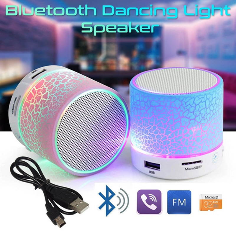 GETIHU Portable Bluetooth Speaker Mini LED Wireless Speakers Play Music With Micro SD TF Radio Fm USB Phone Call For Computer