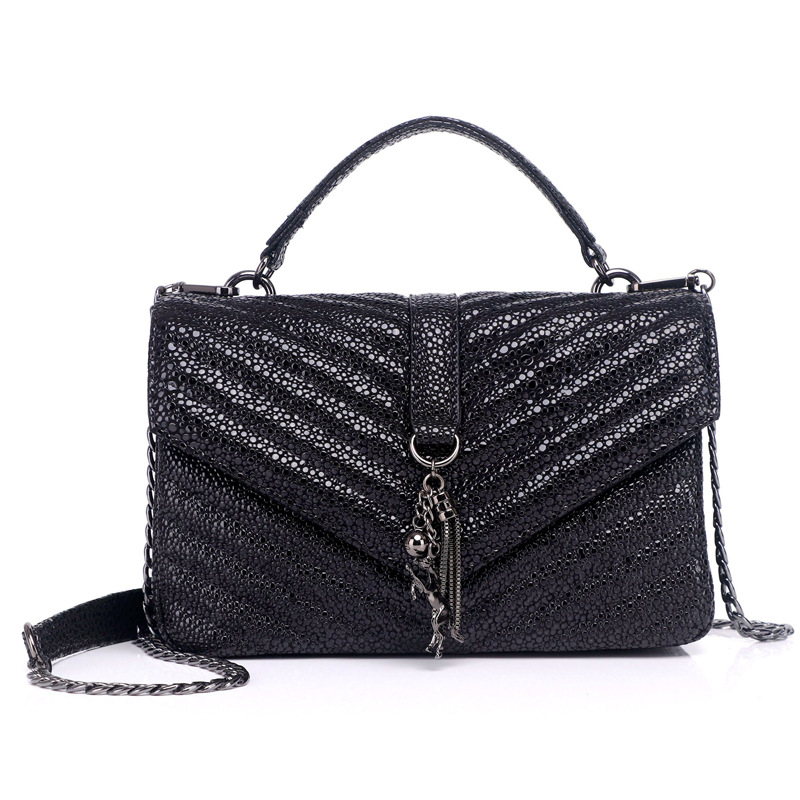 Fashion Shoulder Bags Simple Messenger Bags Women Designer Handbag 2018 High quality Genuine Leather Tassel Chain