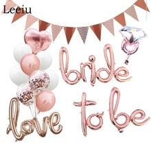 Leeiu Rose Gold Braut Skript Luftballons Hochzeit Braut Dusche Nur Verheiratet Folie Ballons Henne Bachelorette Party Dekorationen