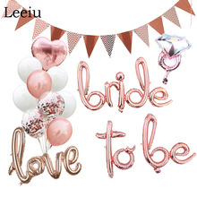 Leeiu Rose Gold Bride Script Balloons Wedding Bridal Shower Just Married Foil Balloons Hen Bachelorette Party Decorations цена и фото