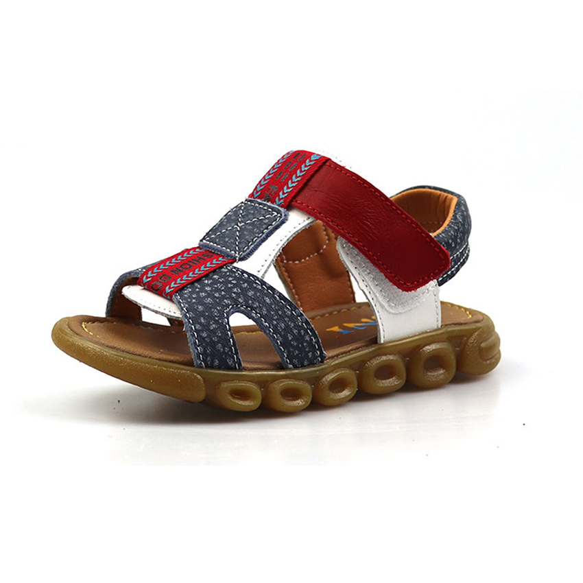 Summer Boys Sandals Beach Breathable Genuine Leather Wear-resistant Cow Muscle Childrens Sandal Gladiator Shoes Size21-36
