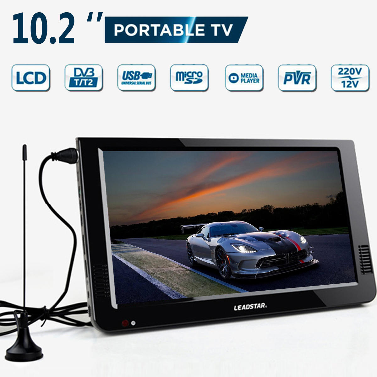 Открытый В 10,2 дюймов 12 в портативный цифровой аналоговый телевизор DVB-T/светодио дный DVB-T2 TFT LED HD ТВ Поддержка TF карта USB аудио автомобильный т...