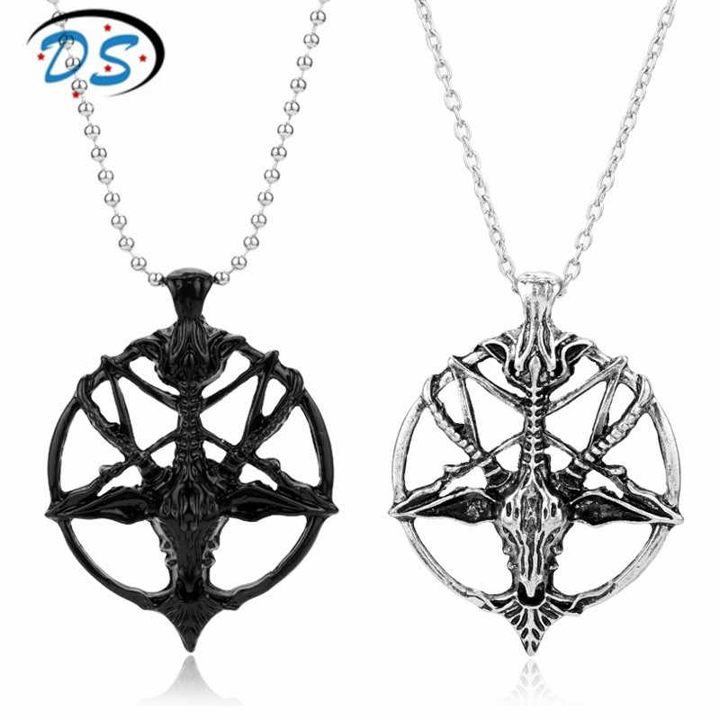Dongsheng đồ trang sức Ngược Ngôi Sao Năm Cánh Đầu Dê Mặt Dây Chuyền Vòng Cổ Người Đàn Ông Dây Chuyền Satanism Huyền Bí Vòng Cổ Liên Kết Chuỗi Choker