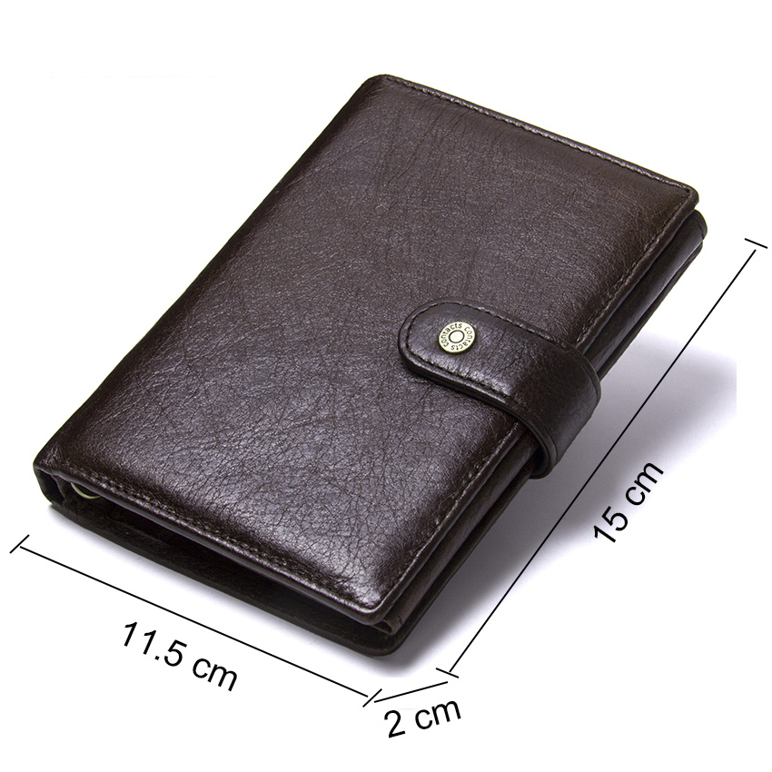 CONTACT'S Leather Wallet Luxury Male Genuine Leather Wallets Men Hasp Purse With Passcard Pocket and Card Holder High Quality 1