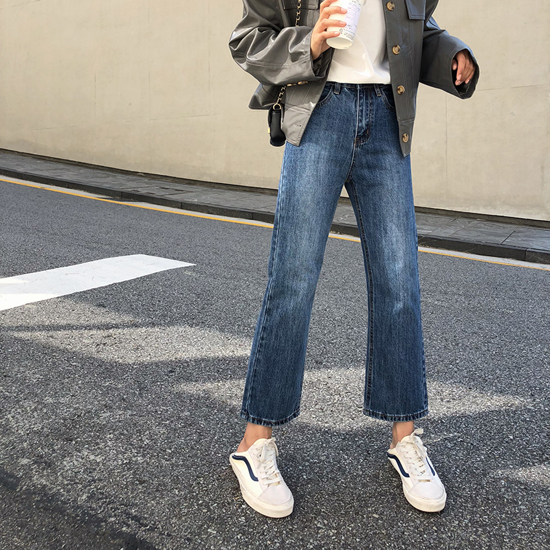 Women's classic straight jeans spring 2020 new loose thin retro Harajuku style wild casual nine points pants