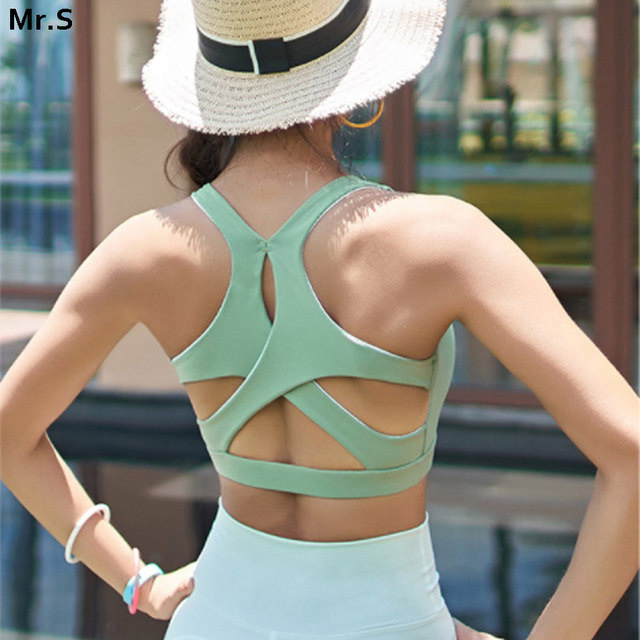 e1a49d8b2c8ef JNC X type back sexy sports bra high impact padded yoga top cut out wokout gym  crop top breathable fitness running top bra