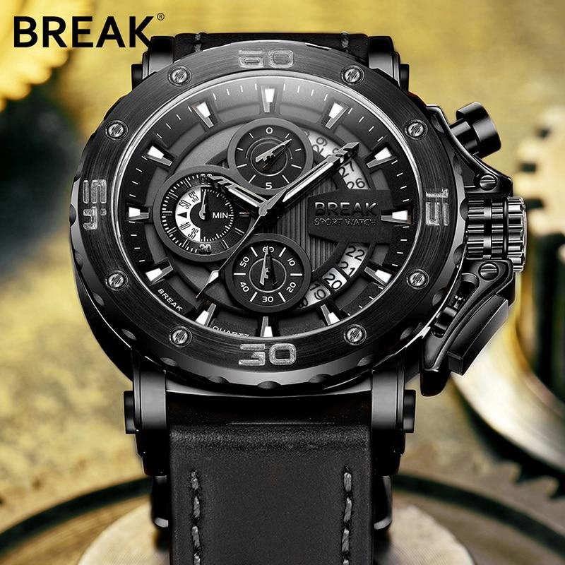 BREAK Top Luxury Brand Fashion Casual Watch Men Chronograph Quartz Military Genuine Leather Relogio Masculino Sport Wrist Watch