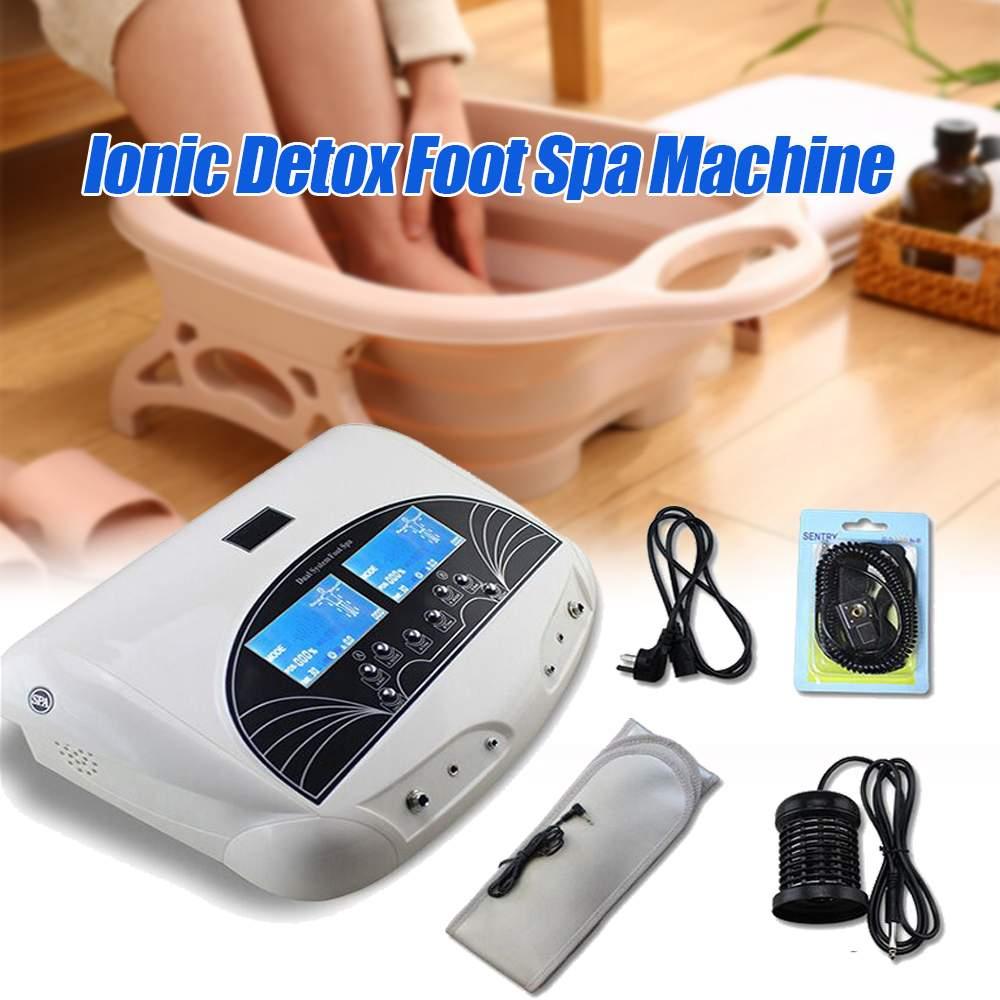 1Set 5 Modes Foot Spa Machine Kits Dual User Detox Ionic Foot Bath Spa Machine Cell Cleanse w/infrared Belt 110 240V