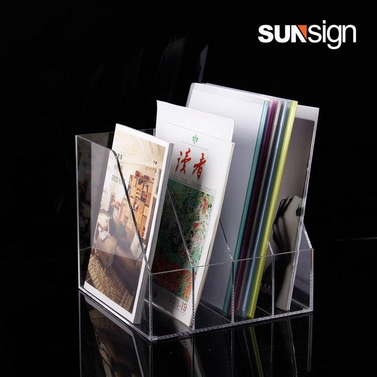4 slots Acrylic Literature Display Holders A4 Plexiglass Brochure Holder