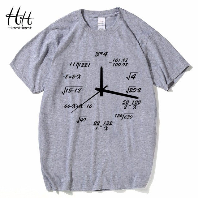 HanHent Math Creative Clock Shirts Men Printed Cotton Tops Casual Loose Short T-shirts Novelty Nerd Geek Style T shirt Boys
