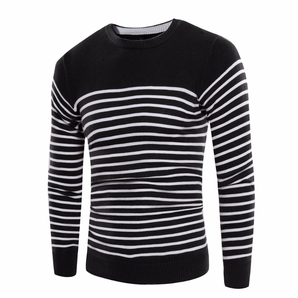 Daddy Chen Autumn Winter Casual font b Men b font Pullovers Long Sleeve Patchwork Striped font