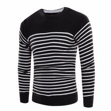 Daddy Chen Autumn Winter Casual Men Pullovers Long Sleeve Patchwork Striped Men Sweaters Cotton Slim Fit O-Neck Mens Sweater