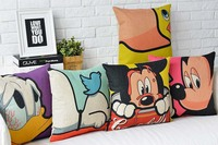 5pcs Cartoon 45x45cm Cushion Cover Mickey Minnie Mouse Printed Embroidery Canvas Throw Pillowcase Square Pillow Covers