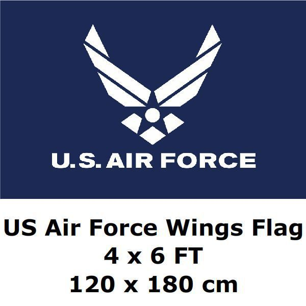 ac78e3eeab2 US Air Force Wings Flag 4` x 6` FT 100D Polyester Black Large American  United States USA US Military Army Flags and Banners