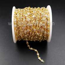 WT BC081 Best Gold Electroplated Brass Chain With Zircon Bead Charm Brass Chain For Jewelry Supply