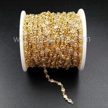 WT BC081 la mejor cadena de latón galvanizado de oro con cuenta de circón, cadena de latón para suministro de joyería