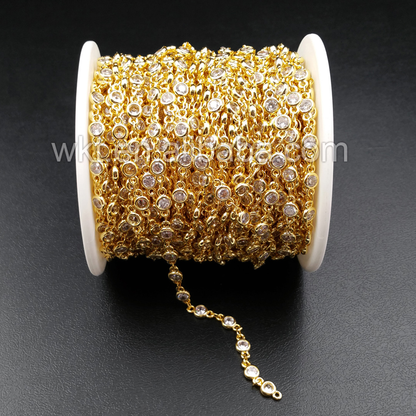 WT BC081 지르콘 구슬과 최고의 골드 전기 도금 황동 체인 쥬얼리 공급을위한 매력 황동 체인-에서보석 재료 & 부속품부터 쥬얼리 및 액세서리 의  그룹 1