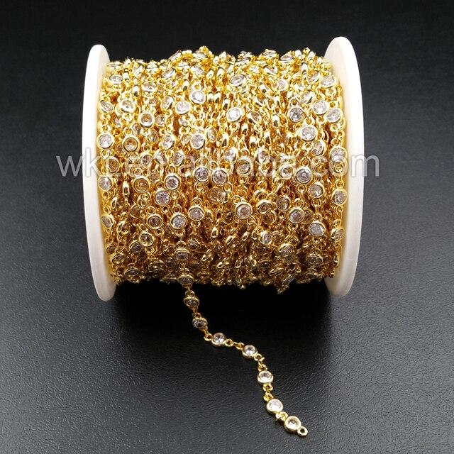 WT BC081 أفضل الذهب مطلي سلسلة من النحاس مع الزركون حبة سلسلة من النحاس لتوريد المجوهرات