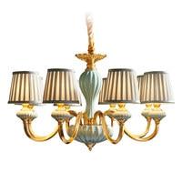 American style chandelier Real brass LED E14 bulb Living room bedroom restaurant droplight Ceramic cloth art lighting fixture