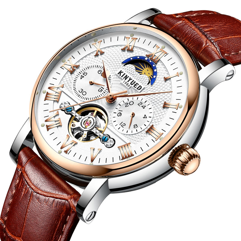 Kinyued New Mechanical Watches Men Automatic Self wind Hand Watch Moon Phase Tourbillon Male Fashion Leather