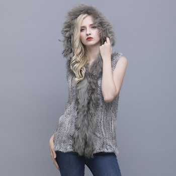QIUSIDUN Real Rabbit Fur Hooded Knitting Vest Fashion Raccoon Collar Decorated With Pockets Winter Woman's Vests