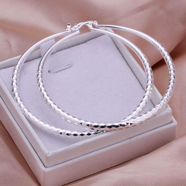 FASHION OF BIG SIlVER-PLATED HOOP EARRINGS LARGE CIRCLE HOOPS FOR LADDY//GIRL